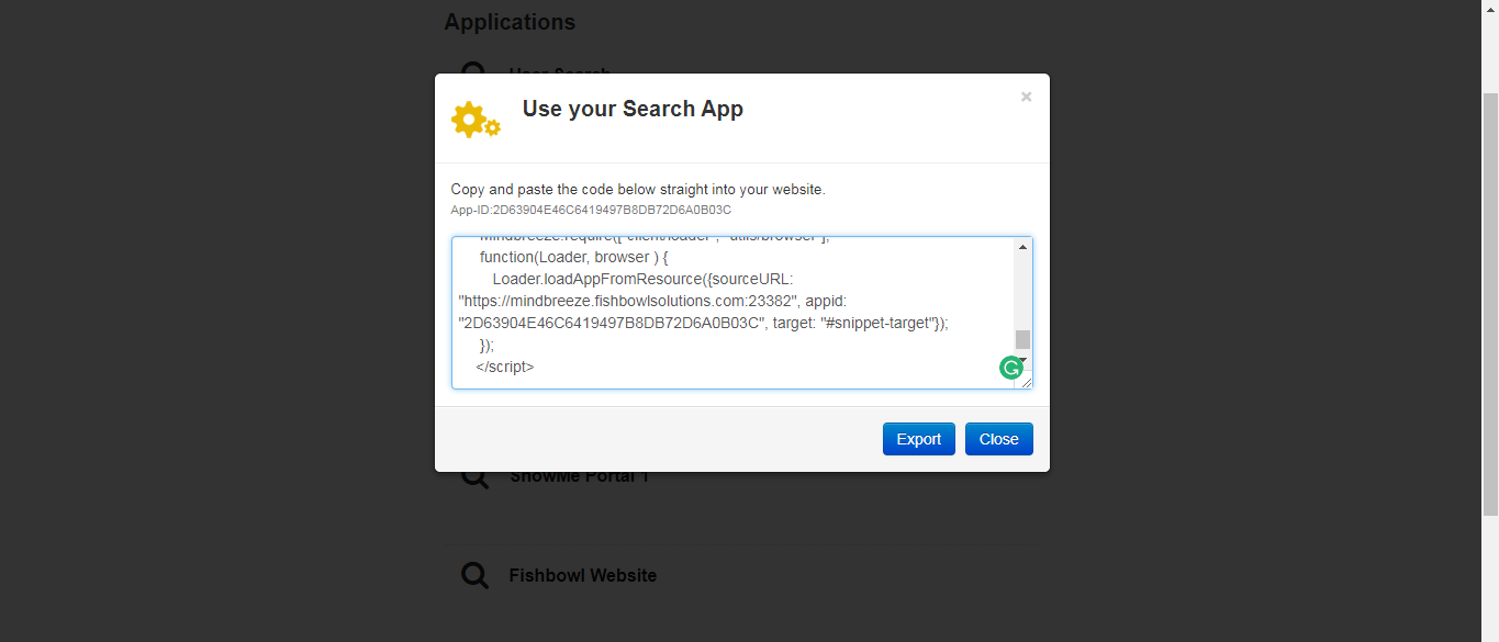 integrated website with Mindbreeze