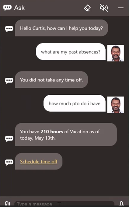 Employee chats with a digital assistant regarding time off and vacation accrual in a chatbot interface