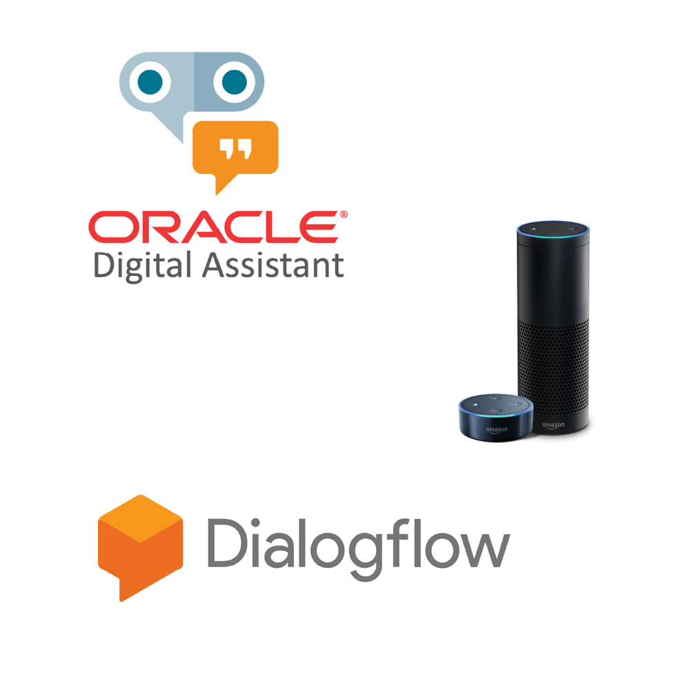 The Oracle Digital Assistant logo, Google Dialogflow logo, and Amazon Alexa smart device