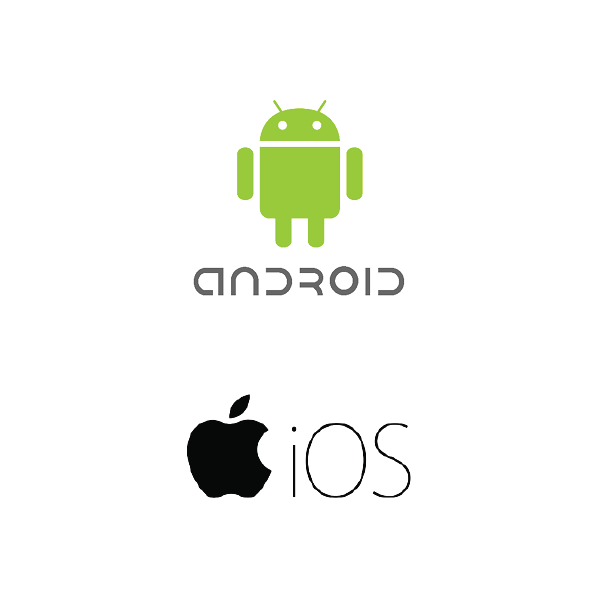 Android logo centered above Apple iOS logo