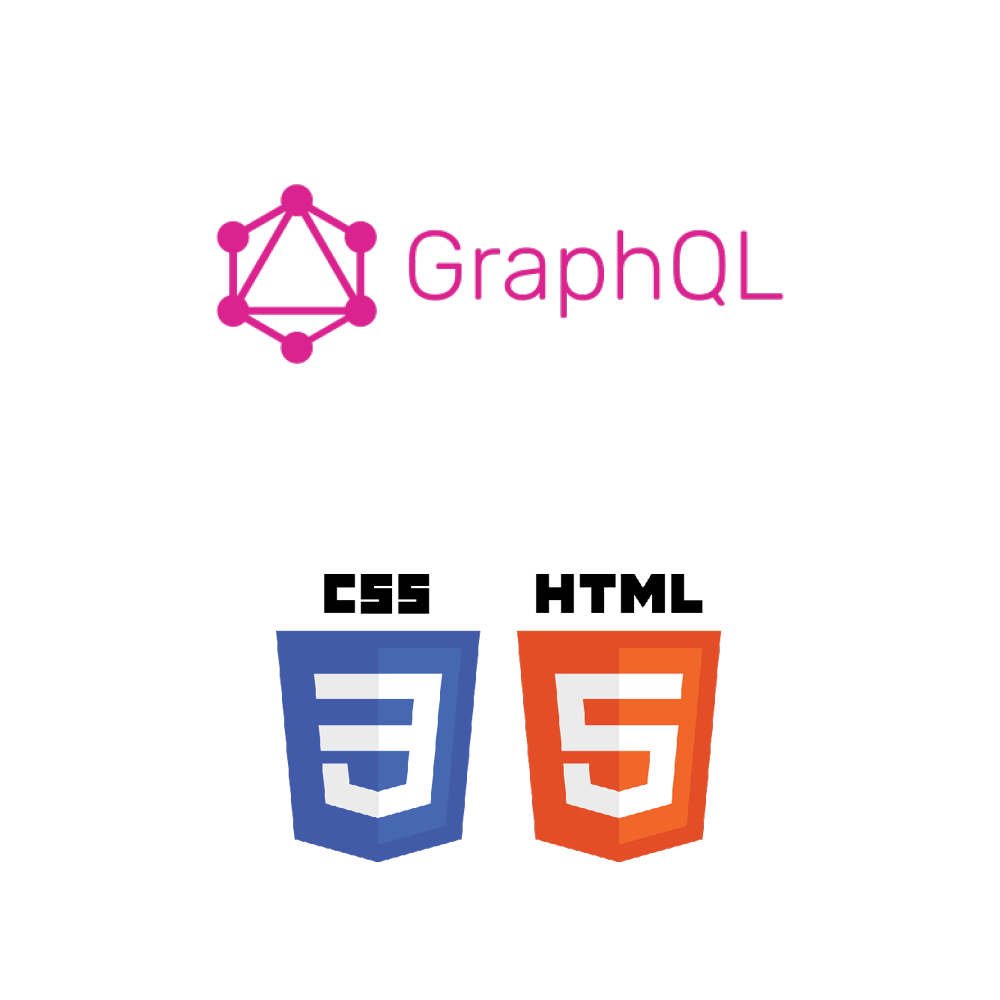 Capable of developing using CSS, HTML, and GraphQL. The GraphQL logo is aligned above the CSS 3 and HTML 5 logos vertically