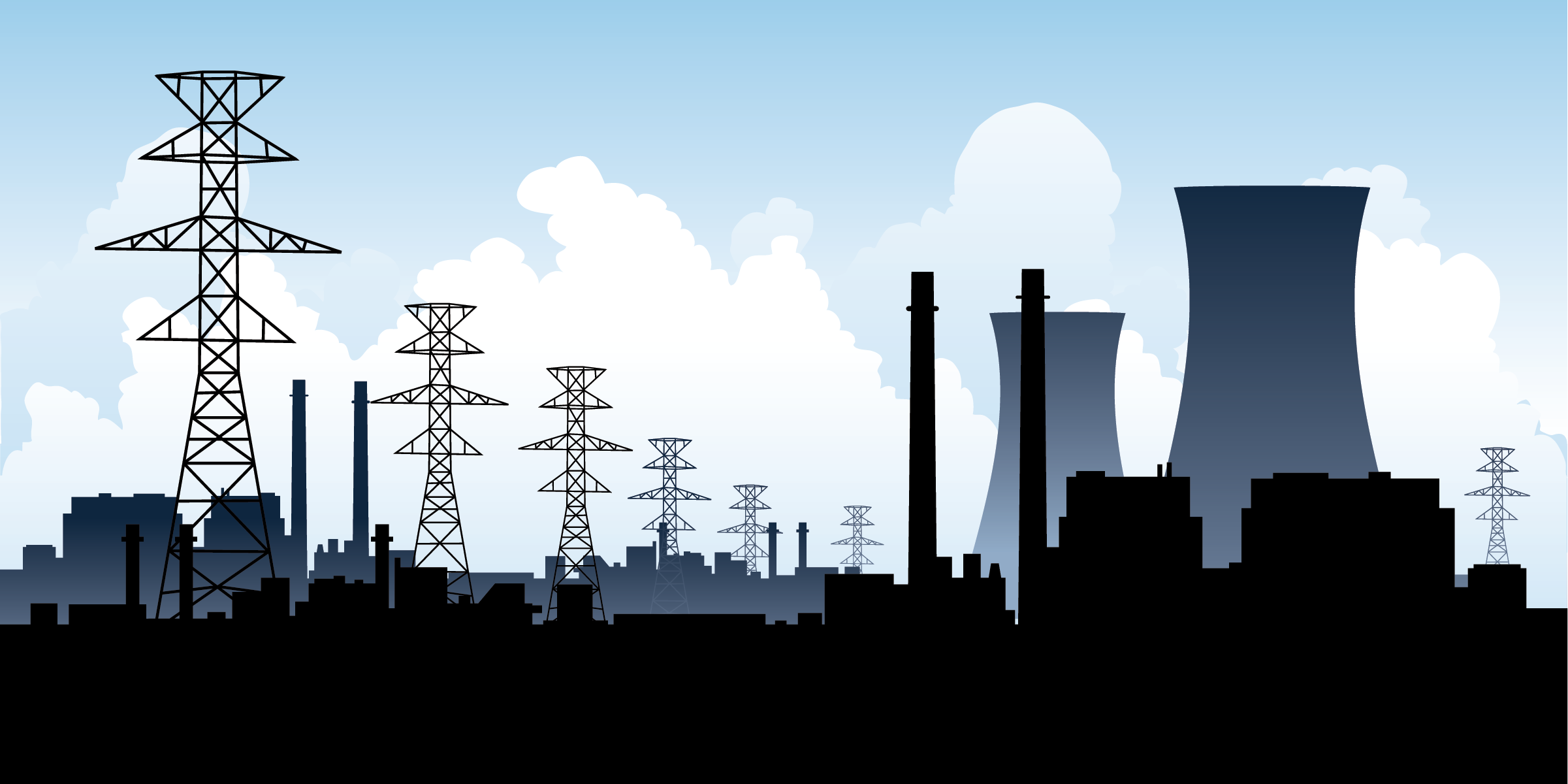 Nuclear energy reactors, power lines, and additional buildings along a blue sky