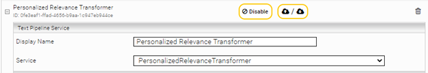 A snippet of the Personalized Relevance Transformer section with Display Name and Service filled in
