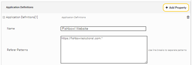 Snippet of Application Definitions section, with name and referer patterns filled in