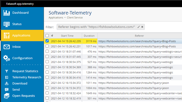 Snippet of the Software Telemetry logs